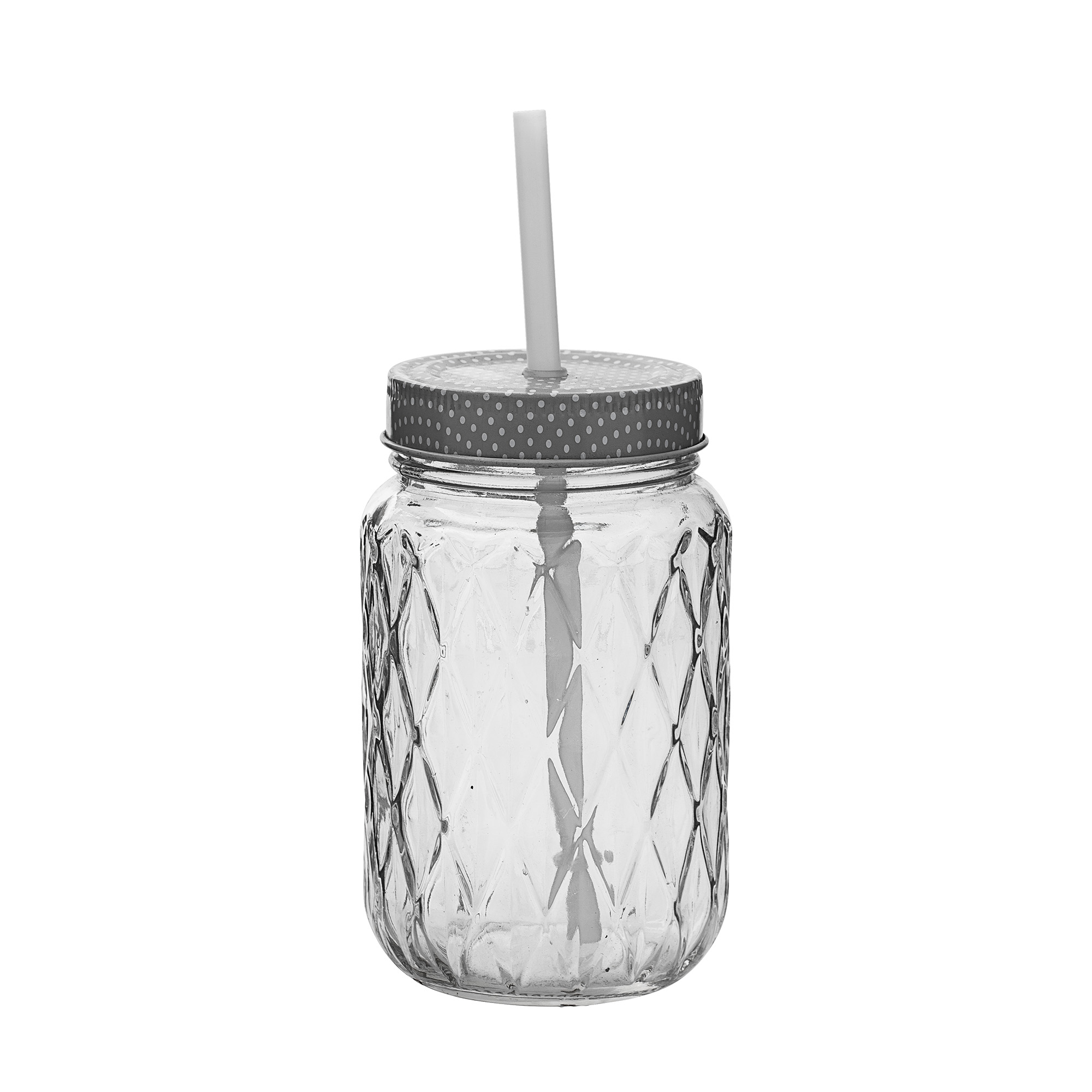 Image of   Bottle w/ lid & straw, clear/grey/white