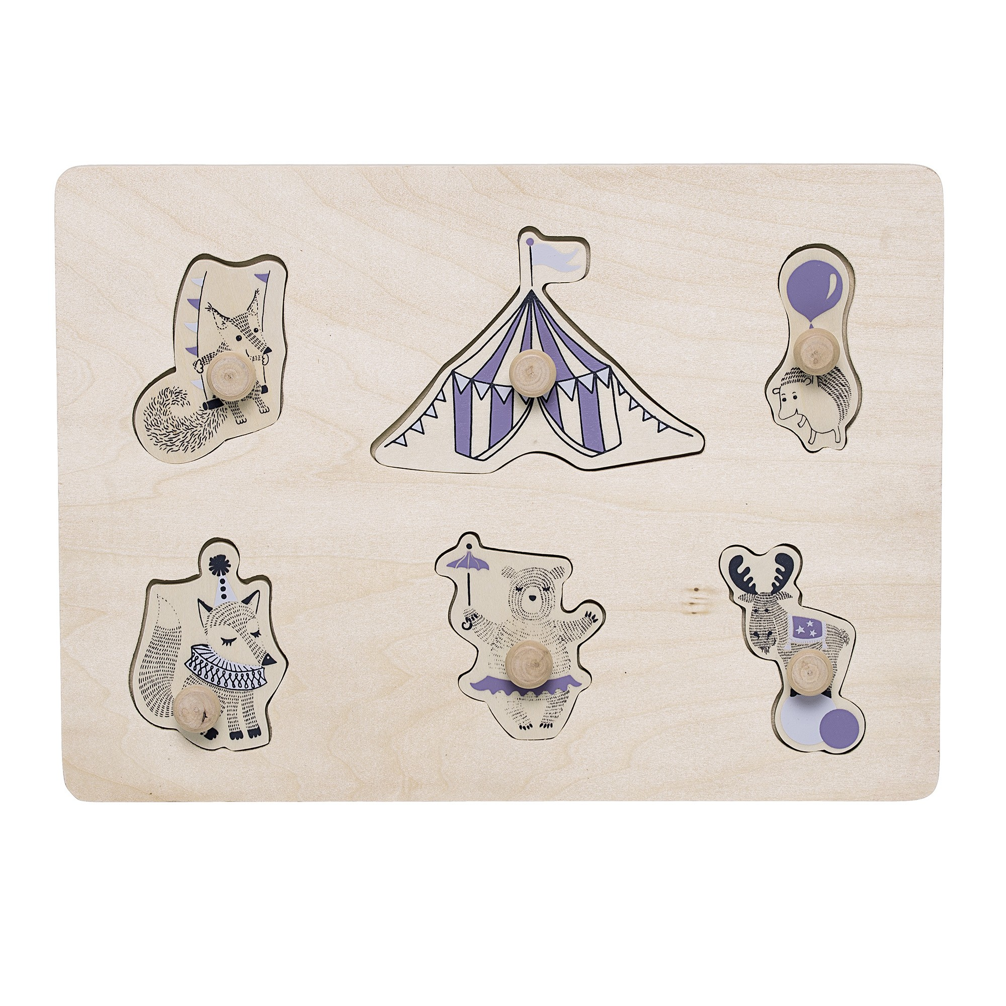 Image of   Circus puzzle w/knobs, purple, plywood