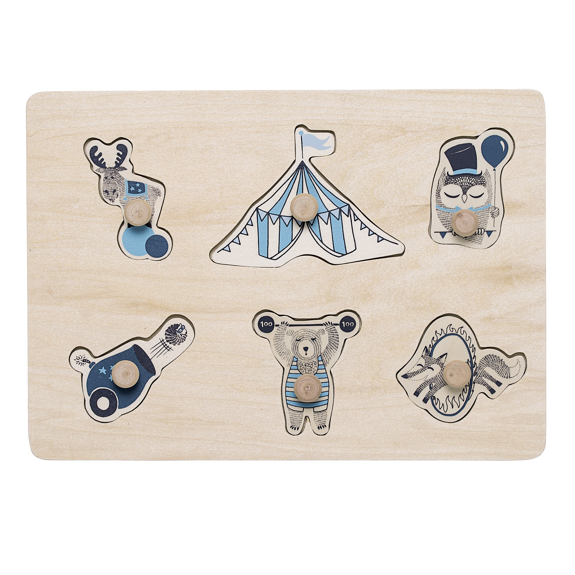 Image of   Circus puzzle w/knobs, blue, plywood