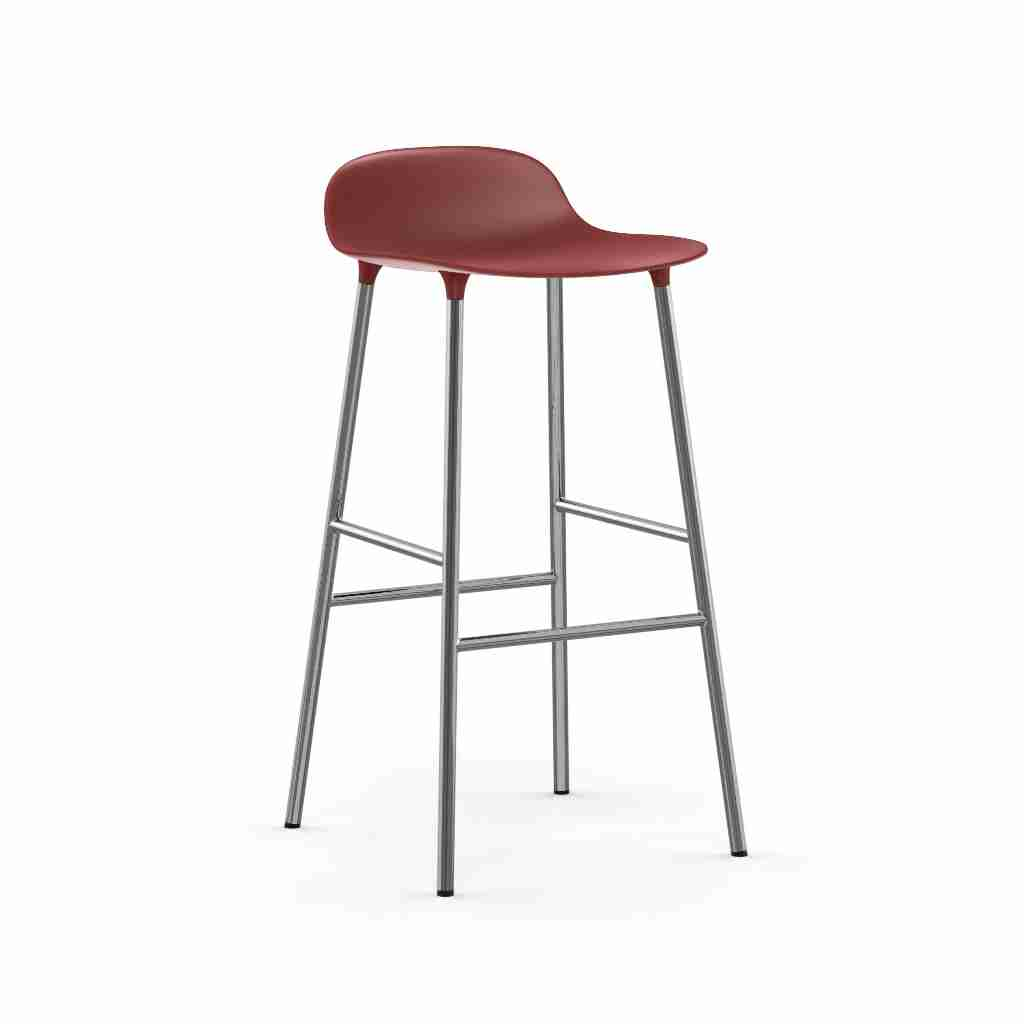 Image of   Normann copenhagen form barstol 75 cm chrome (red)
