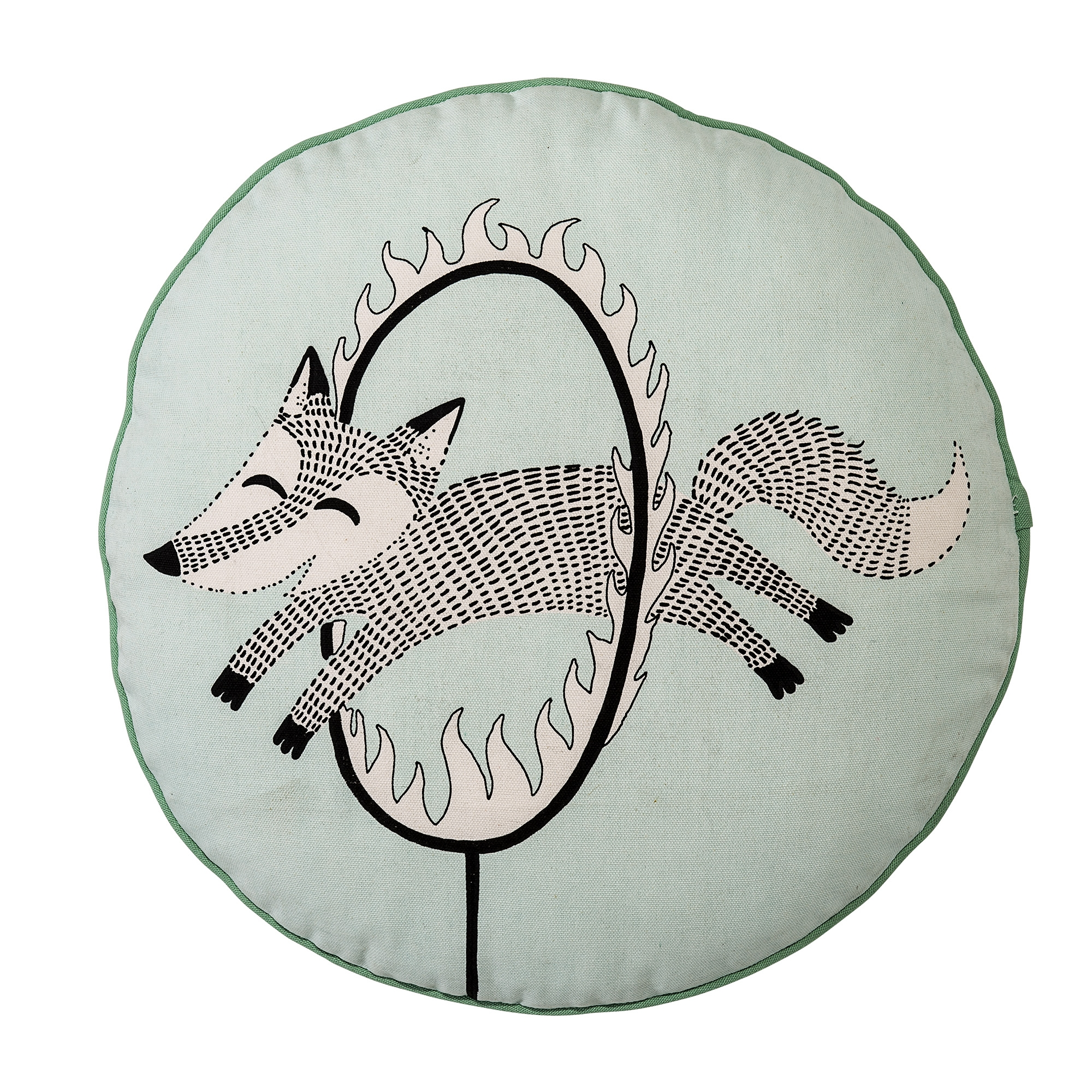 Image of   Circus cushion, mint w/black/offwhite