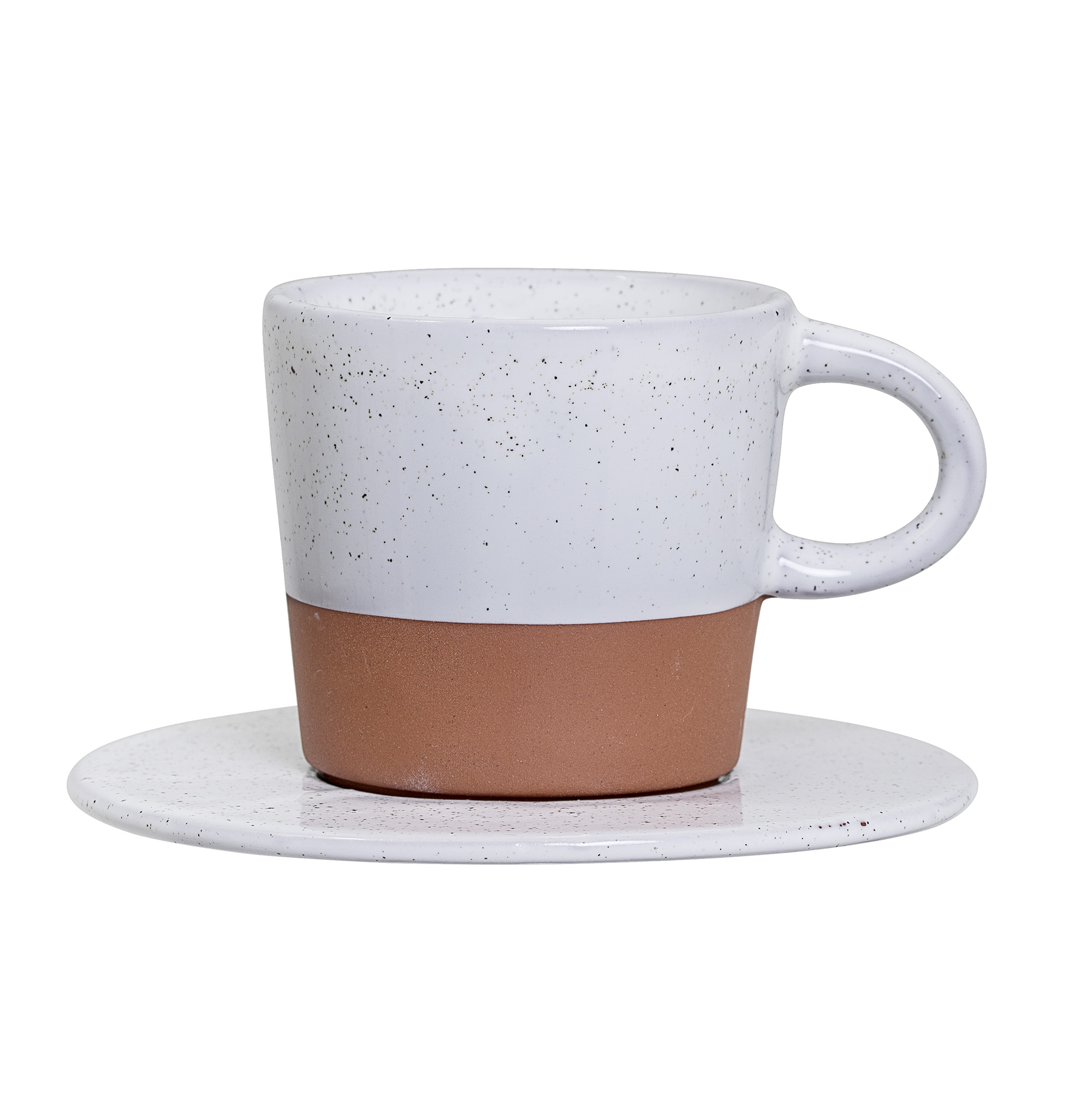 Image of   Evelyse cup w/saucer, white, terracotta