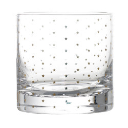 Drinking Glass, Clear w/Gold Stars