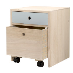 Bedside Table, Blue, Paulownia