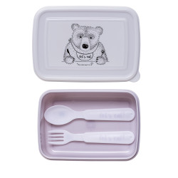 Lunch Box w/Cutlery, Purple/White, Set of 3