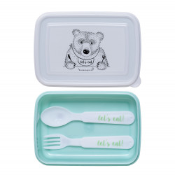 Lunch Box w/Cutlery, Mint/White, Set of 3